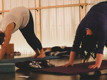 A group class at Woven Yoga.